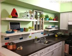 interior interior blue tile kitchen backsplash and white marble