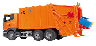 bruder toys bruder 03560 scania r series garbage truck orange bruder