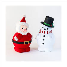 retro christmas decorations 1950s santa with snowman figures