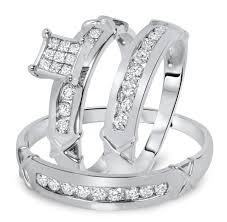 wedding rings sets for 1 carat diamond trio wedding ring set 14k white gold