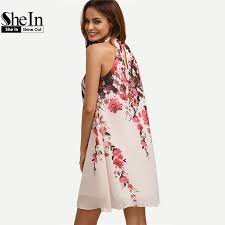 shein summer short dresses casual womens new arrival multicolor round neck floral cut out sleeveless shift jpg