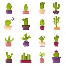 vector cartoon house plant cactus icons u2014 stock vector