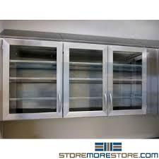 stainless upper glass front storage cabinets for medical surgical