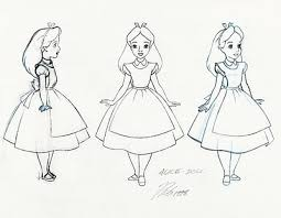 preproduction sketches alice belle and cinderella disney