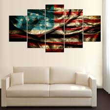 American Flag Decor Limited Edition American Flag Liberty 5 Piece Canvas Painting