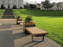 Park Bench Position Railroad Planters With Bench Seating U2013 Timber Planters