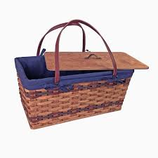 vintage picnic basket amish made large vintage picnic basket with tray amish baskets