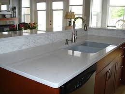 Awesome Kitchen Sinks by Furniture White Quartzite Countertops With Sink And Wall Mirror