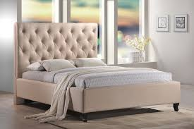 Fabric Platform Bed Roxbury Tufted Upholstered Platform Bed In Sand Color Fabric