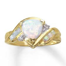 clearance engagement rings clearance 10k yellow gold diamond and lab created opal ring