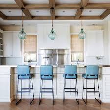 turquoise blue leather kitchen island stools with blue glass