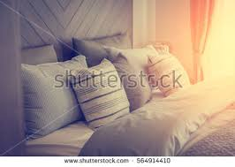 bed maidup clean white pillows bed stock photo 564914410