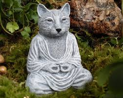 Cat Garden Decor Beeswax Cat Buddha Meditating Cat Buddha Cat Lover Candle