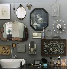 retro bathroom idea with grey wall paint plus completed with