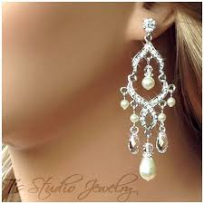 pearl chandelier earrings pearl and bridal chandelier earrings