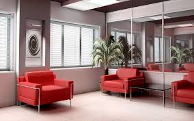 decorating modern small living room with red sofa set interior