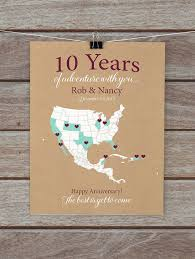 tenth anniversary gifts 10 year anniversary gifts 10th anniversary personalized map of