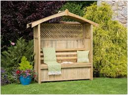 backyards charming garden arbor bench idea with partial lattice