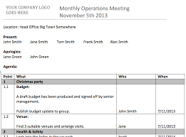 template agenda minutes for recurring meetings