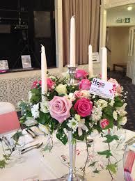 vintage pink rose candelabra with ivy wedding flowers wedding