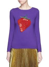 strawberry sweater lyst gucci strawberry mix intarsia wool sweater in purple