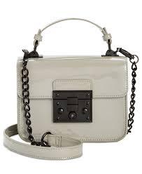 lyst steve madden evie push lock small flap bag in gray