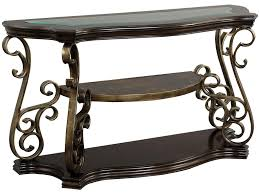 standard sofa table height standard furniture seville glass top sofa table with 2 shelves