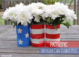 patriotic upcycled can flower pots 4th of july decorations mom