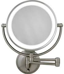 battery operated wall mounted lighted makeup mirror this one meets all of your expectations it is battery operated wall