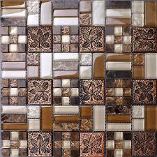 Metal Tile Backsplash Kitchen Design Colorful Crystal Glass - Metal tiles backsplash