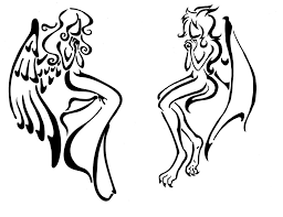 tattoo angel simple tribal angel and demon tattoo by izabeth on deviantart