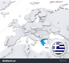 Europe Flag Map by Highlighted Greece On Map Europe National Stock Illustration