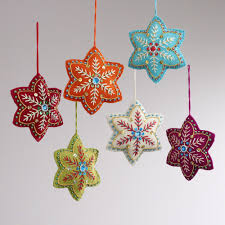 felt christmas ornaments felt ornaments embroidered felt 6 pointed ornaments set of