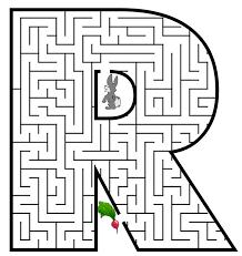 free printable maze for kids uppercase letter r