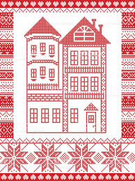 House With Tower Winter Nordic Style And Inspired By Scandinavian Christmas Pattern