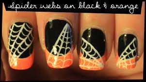 spider webs on black u0026 orange nail art youtube