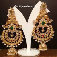 heavy diamond earrings heavy antique jhumkas jewellery designs jewellery