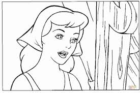 cinderella pretty face coloring free printable