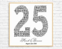 25 year anniversary gift ideas 25th anniversary etsy