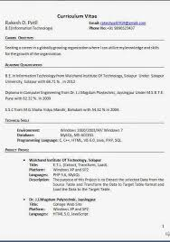 Best Resume Title For Freshers by Resume Title For Mca Freshers