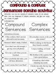 simple compound complex sentences activities common core aligned