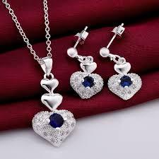 sterling silver necklace set images Buy online necklace set love heart shaped pendant set sterling jpg