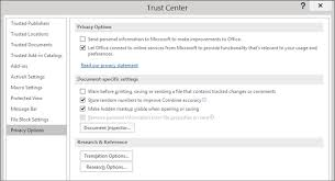 view my options and settings in the trust center office support
