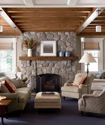 living room dark tile floor gray sofa country hearth mantel