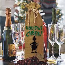 wine bottle gift bags grinch silhouette burlap drawstring wine bottle gift bag