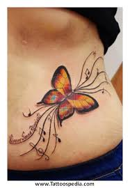 butterfly tattoos lower stomach 5