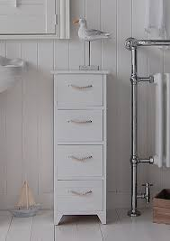 Free Standing Wooden Bathroom Furniture A White Wooden Painted Free Standing Slim Bathroom Cabinet With 4
