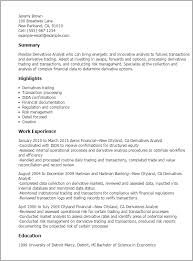 It Analyst Resume Examples derivatives analyst cover letter