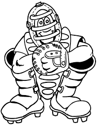 printable baseball coloring page smiling catcher