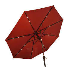 Red Rectangular Patio Umbrella Outsunny 9 U0027 Outdoor Patio Umbrella W Tilt U0026 Solar Powered Led